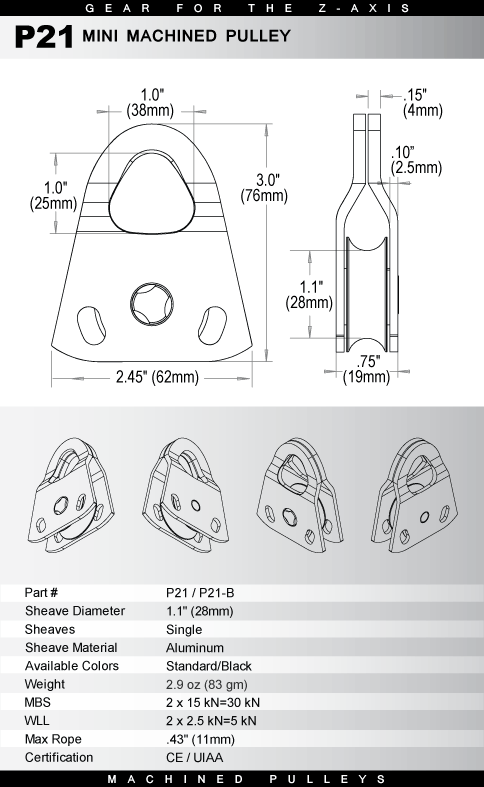 Блок Mini Machined Pulley Rock Exotica